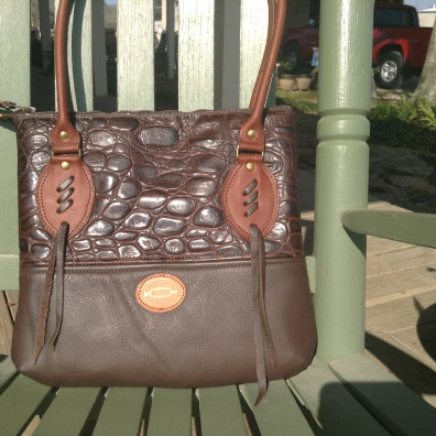 Chocolate brown large gator print. Cute!